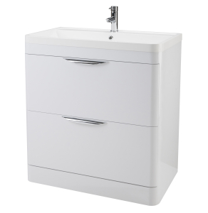 Nuie Parade Gloss White Contemporary 800 Floor Standing 2 Drawer Basin & Cabinet - FPA004 FPA004