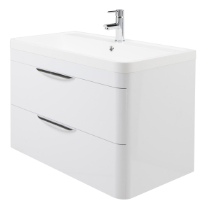 Nuie Parade Gloss White Contemporary 800 Wall Hung 2 Drawer Basin & Cabinet - FPA005 FPA005
