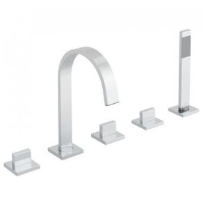 Vado Geo 5 Hole Bath Shower Mixer Deck Mounted - Geo-135-3/4-C/P VADO1856