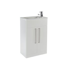 Aquatrend 460mm 2 Door Floor-Standing Cloakroom Unit In Gloss White - CV29291/000-CV811 CV29291/000-CV811