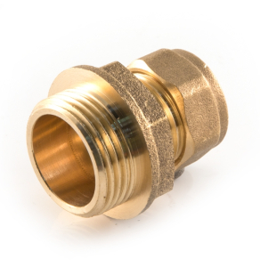 15mm x 3/8 in BSPP Male Straight Coupler Brass Compression Fitting comas3/815