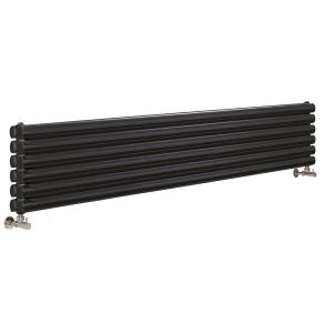 Nuie Revive Double Panel Gloss Black Contemporary Horizontal Radiator - HLB77H HLB77H