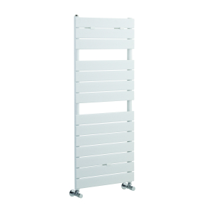 Nuie Flat Panel High Gloss White Contemporary Heated Towel Rail - HLW35 HLW35