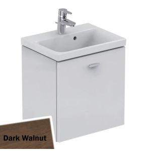 Ideal Standard Concept Space Wall Hung Vanity Unit with Basin 500mm Wide in Dark Walnut - E0312SX + E133601 IS10560