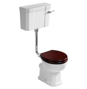 Ideal Standard Waverley Low Level Toilet with Cistern - Standard Mahogany Seat IS10080