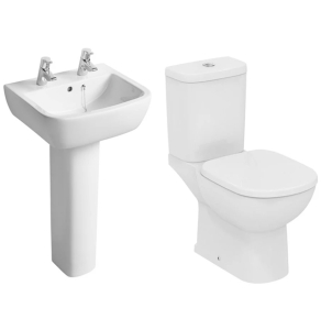 Ideal Standard Tempo Value Suite Close Coupled Toilet 2 Tap Hole Basin White IS10007