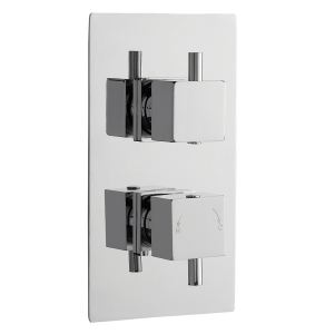 Nuie Volt Chrome Contemporary Twin Thermostatic Shower Valve With Diverter - JTY302 JTY302