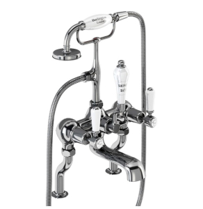 Burlington Kensington Bath Shower Mixer Tap, Pillar Mounted In Chrome - KE15 BU10655
