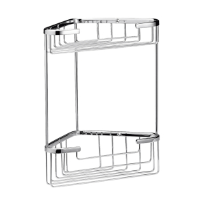 Nuie Storage Chrome Traditional Large 2 Tier Corner Basket - LL308 LL308