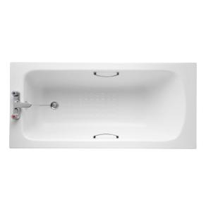 Armitage Shanks Sandringham 21 Bath with Handgrips & Tread 1500mm x 700mm - 2 Tap Hole AS10134