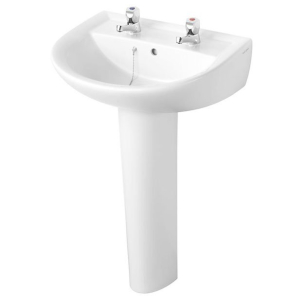 Armitage Shanks Sandringham 21 Boxed Basin & Pedestal Pack 550mm inc Pillar Taps AS10027