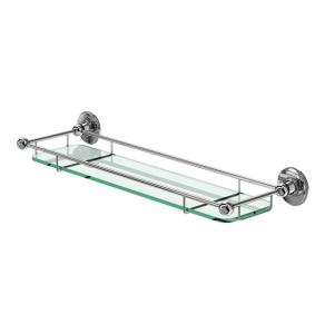 Burlington Traditional Glass Shelf, 532mm Wide, Chrome/Frosted Glass BU10858