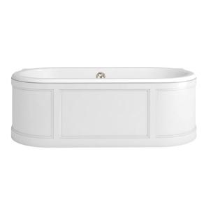 Burlington London Curved Surround Acrylic Bath 1800mm x 850mm In Matt White - E22W BU10493