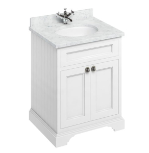 Burlington 65 2-Door Vanity Unit and Carrara White Basin 650mm Wide Matt White - 0 Tap Hole BU10285