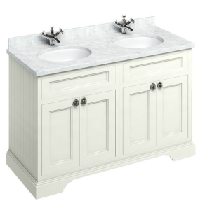 Burlington 130 4-Door Vanity Unit and Carrara White Basin 1300mm Wide Sand - 0 Tap Hole BU10330