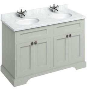 Burlington 130 4-Door Vanity Unit and Carrara White Basin 1300mm Wide Olive - 0 Tap Hole BU10331