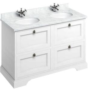 Burlington 130 4-Drawer Vanity Unit and Carrara White Basin 1300mm Wide Matt White - 0 Tap Hole BU10332