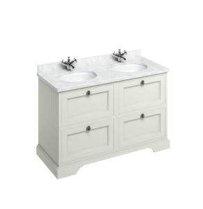 Burlington 130 4-Drawer Vanity Unit and Carrara White Basin 1300mm Wide Sand - 0 Tap Hole BU10335