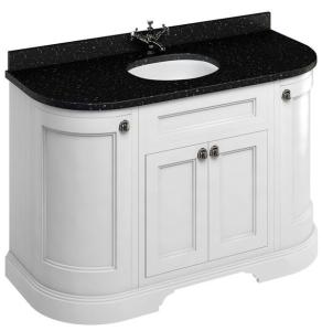 Burlington 134 Curved 4-Door Vanity Unit Black Granite Basin 1300mm Matt White - 0 Tap Hole BU10362