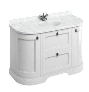 Burlington 134 Curved 2-Door Vanity Unit and Carrara White Basin 1300mm Wide Matt White 0 Tap Hole BU10368