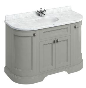 Burlington 134 Curved 4-Door Vanity Unit and Carrara White Basin 1300mm Wide Olive - 0 Tap Hole BU10369