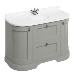 Burlington 134 Curved 2-Door Vanity Unit and White Basin 1300mm Wide Olive - 0 Tap Hole BU10365