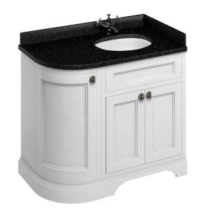 Burlington 100 Curved RH 3-Door Vanity Unit and Black Granite Basin 1000mm 0 Tap Hole - Matt White BU10397