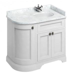Burlington 100 Curved RH 3-Door Vanity Unit and Carrara White Basin 1000mm 0 Tap Hole - Matt White BU10398