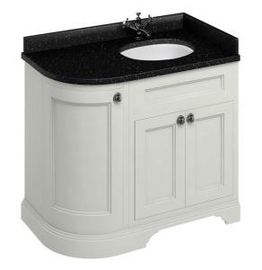 Burlington 100 Curved RH 3-Door Vanity Unit and Black Granite Basin 1000mm Wide Sand - 0 Tap Hole BU10405
