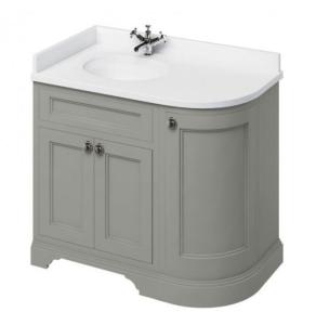 Burlington 100 Curved LH 3-Door Vanity Unit and White Basin 1000mm Wide Olive - 0 Tap Hole BU10421