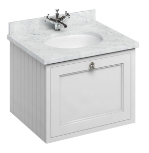 Burlington 65 Wall Hung Vanity Unit and Carrara White Basin 650mm Wide Matt White - 0 Tap Hole BU10300