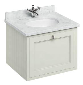 Burlington 65 Wall Hung Vanity Unit and Carrara White Basin 650mm Wide Sand - 0 Tap Hole BU10301