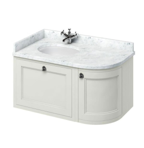 Burlington 100 Curved LH Wall Hung Vanity Unit and Carrara White Basin 1000mm Wide Sand 0 Tap Hole BU10387