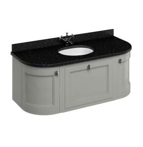 Burlington 134 Curved Wall Hung Vanity Unit and Black Granite Basin 1300mm Wide Olive - 0 Tap Hole BU10380