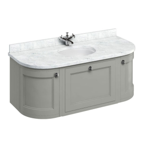 Burlington 134 Curved Wall Hung Vanity Unit and Carrara White Basin 1300mm Wide Olive - 0 Tap Hole BU10356