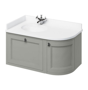 Burlington 100 Curved LH Wall Hung Vanity Unit and White Basin 1000mm Wide Olive - 0 Tap Hole BU10411