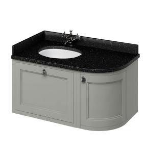 Burlington 100 Curved LH Wall Hung Vanity Unit and Black Granite Basin 1000mm 0 Tap Hole - Olive BU10420