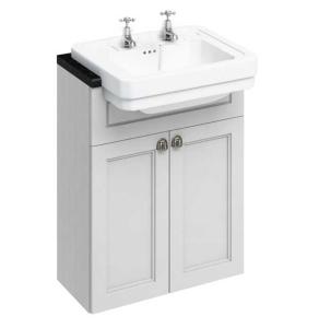 Burlington 60 Fitted Semi-Recessed Vanity Unit and 2TH Basin, 600mm Wide, Matt White BU10458
