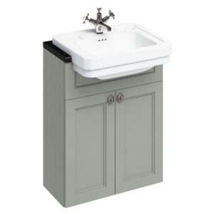 Burlington 60 Fitted Semi-Recessed Vanity Unit and 1TH Basin, 600mm Wide, Olive BU10463