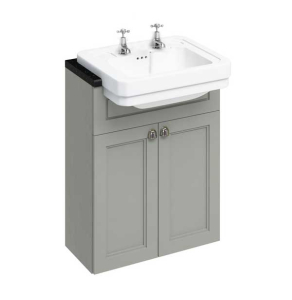 Burlington 60 Fitted Semi-Recessed Vanity Unit and 2TH Basin, 600mm Wide, Olive BU10460