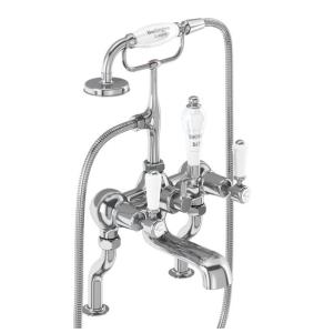 Burlington Kensington Bath Shower Mixer Tap, Pillar Mounted, Chrome BU10623