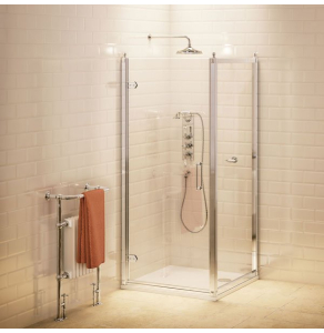 Burlington Traditional Hinged Door Shower Enclosure with Tray 900mm x 800mm, 8mm Glass BU10754