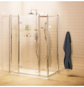 Burlington Traditional Inline Hinged Door Shower Enclosure with Tray 1100mm x 760mm, 8mm Glass BU10767