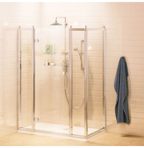 Burlington Traditional Inline Hinged Door Shower Enclosure with Tray 1500mm x 800mm, 8mm Glass BU10786