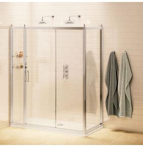 Burlington Traditional Sliding Door Shower Enclosure with Tray 1100mm x 760mm, 8mm Glass BU10763