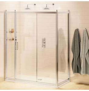 Burlington Traditional Inline Sliding Door Shower Enclosure with Tray 1500mm x 760mm, 8mm Glass BU10782