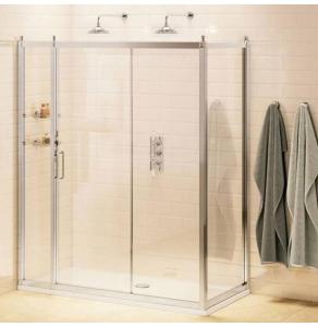 Burlington Traditional Inline Sliding Door Shower Enclosure with Tray 1700mm x 760mm, 8mm Glass BU10787