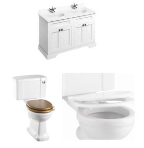 Burlington Furniture Bathroom Suite 1300mm Wide Vanity Unit Matt White - 0 Tap Hole BU10868