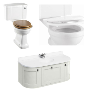 Burlington Furniture Bathroom Suite 1340mm Wide Vanity Unit Sand - 0 Tap Hole BU10872