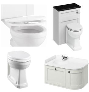 Burlington Furniture Bathroom Suite 980mm Wide LH Vanity Unit Sand - 0 Tap Hole BU10875